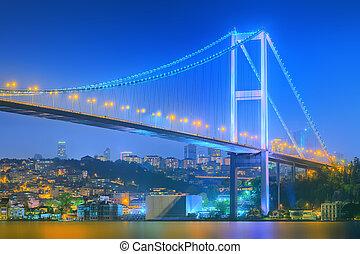View of Bosphorus bridge at night Istanbul