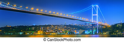 View of Bosphorus bridge at night Istanbul
