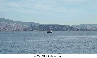View of Bosphorus, Istanbul and passengers ships