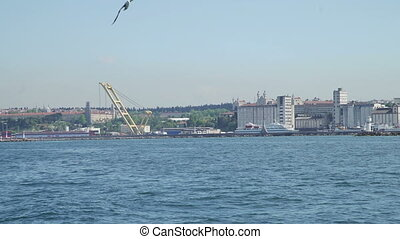 View of Bosphorus, port and city landscape