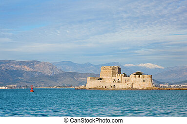 View of Bourtzi castle in Nafplion, Greece
