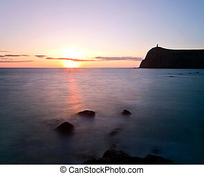 View of Brada Tower during Sunset at Port Erin