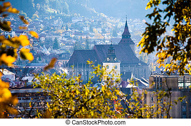 View of Brasov old city known as Kronstadt located in the central part of Romania