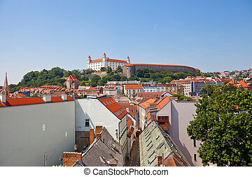 View of Bratislava Castle (founded in IX c.) and the city from the tower of St. Michael Gate. Bratislava, Slovakia