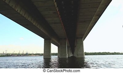 View of bridge over water - look up at the bridges over...