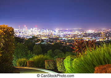 View of Brisbane City - View of the Brisbane City from Mount...