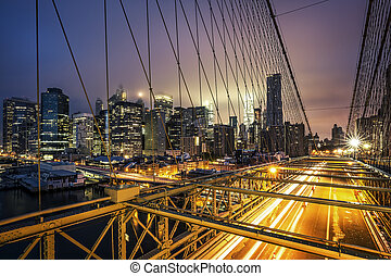 View of Brooklyn Bridge at sunset
