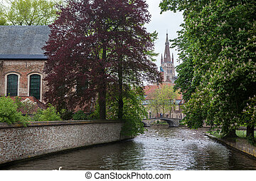 View of Bruges, Belgium - View of Bruges, old city in...