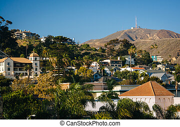 View of buildings and hills in downtown Ventura, California.