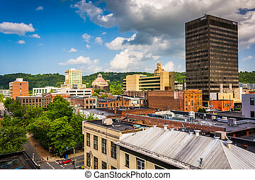 View of buildings from a parking garage in Asheville, North Caro
