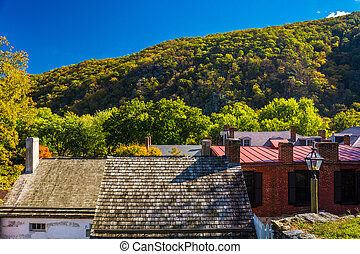 View of buildings in Harper's Ferry, West Virginia.