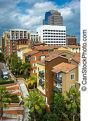 View of buildings in Long Beach, California.