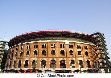 View of Bullring Arenas. Barcelona, Catalonia, Spain