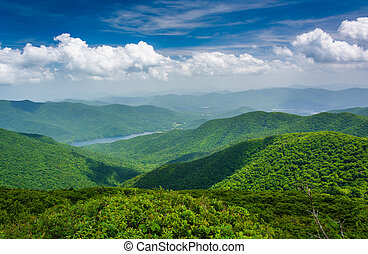 View of Burnett Reservoir from Craggy Pinnacle, near the Blue Ridge Parkway, North Carolina.