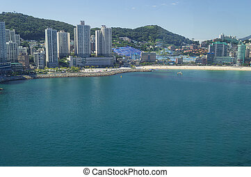view of Busan cityscape from above on sunny day
