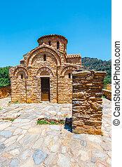view of Byzantine church in Fodele, Crete, Greece