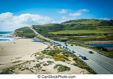 View of Cabrillo Highway and Waddell Beach, in Davenport,...
