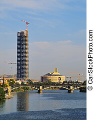 Cajasol Tower and Guadalquivir River in Seville