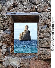 View of Cala Benirras in Ibiza