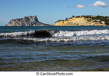 View of Calpe Rock from Moraira in Spain