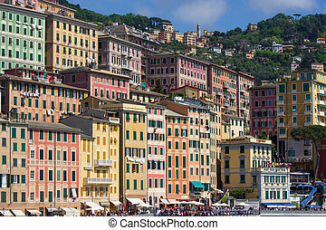 View of Camogli, Liguria coast - View from the sea, the town...