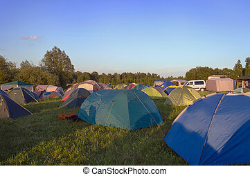 camping in the nature with tents in Russia