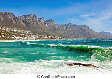 Camps Bay Beach and Table Mountain in Cape Town South Africa