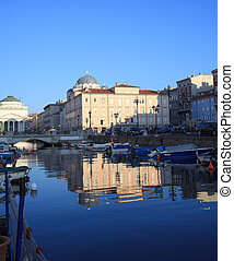 Trieste - View of Canal Grande in Trieste, Italy