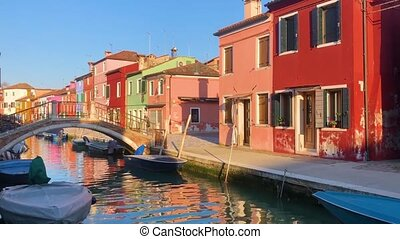 Burano island, Venice, Italy - view of canal with...