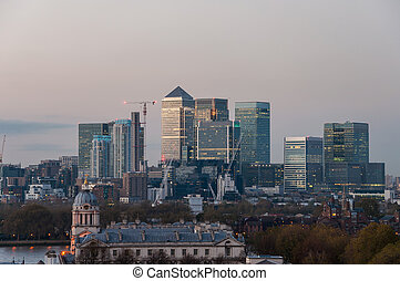 View of Canary Wharf from Greenwich Hill at dusk