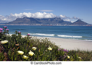 View of Cape Town and table mountain from Bloubergstrand, South Africa