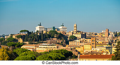 View of Capitoline Hill from the Coliseum in Rome, Italy