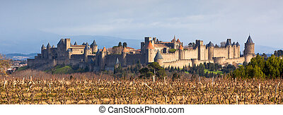 View of Carcassonne castle in Languedoc-Rosellon, France. Long wide banner