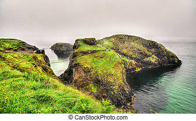 View of Carrick Island with Carrick-a-Rede Rope Bridge - Northern Ireland
