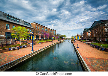 View of Carroll Creek, in Frederick, Maryland.