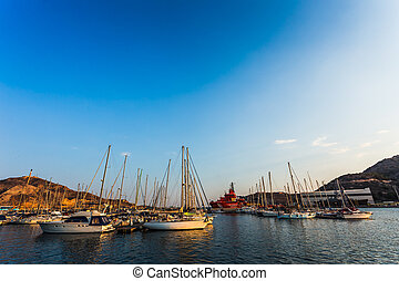 Cartagena Murcia port marina sunset in Mediterranean Spain