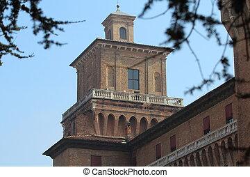 View of Castello Estense in Ferrara, Italy