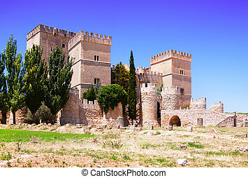 View of castle of Ampudia. Province of Palencia, Castile and...