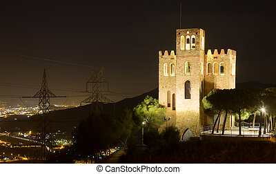 Castle of Torre Baro in night. Barcelona - View of Castle of...