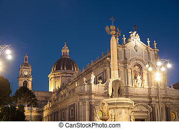 View of Catania cathedral in Sicily, Italy