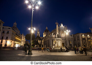 View of Catania cathedral - CATANIA, ITALY - JANUARY, 01:...