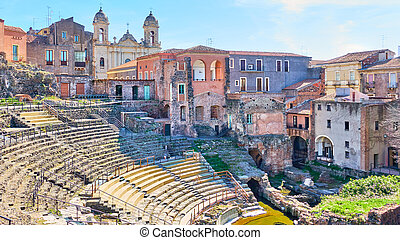 View of Catania in Sicily with ancient roman theater