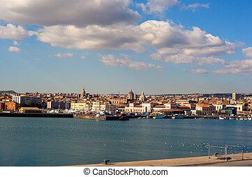 View of Catania from harbor, Sicily. Italy