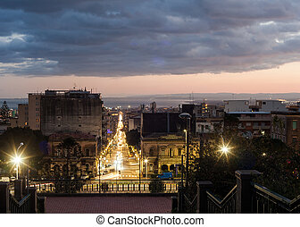 View of Catania - The street of Catania Via Etnea...