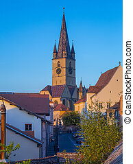 View of Cathedral from streets of Sibiu