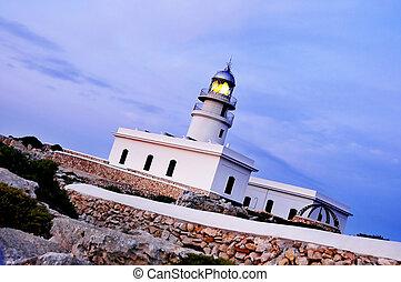 view of Cavalleria beacon in Menorca, Balearic Islands,...