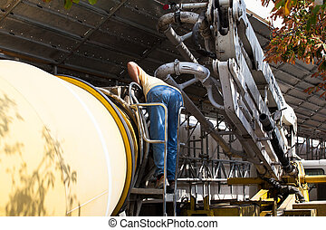 Cement Truck - View of Cement Truck in action in a ...