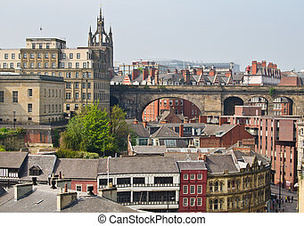 View of central Newcastle from Gateshead including clock...