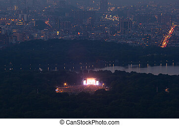 View of Central park with a musical concert in New York City