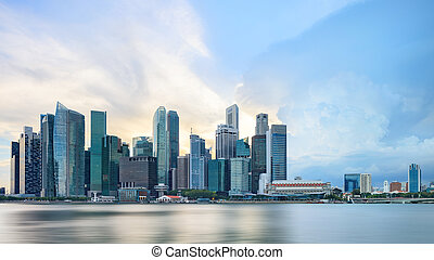 View of central Singapore skyline - Panorama of Singapore...